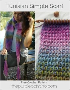 Tunisian Simple Scarf - Free Crochet Pattern - The Purple Poncho - Tunisian crochet - Tunisian Crochet Patterns, Knitting Patterns, Lace Patterns, Lace Knitting, Potholder Patterns, Easy Crochet, Free Crochet, Crochet Scarf Tutorial, Crochet Geek