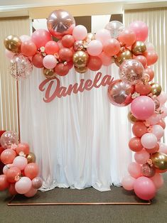 Balloons Garland and Backdrop set up Balloons Garland and Backdrop set up Custom backdrop setup for a birthday party! 1st Birthday Girl Decorations, Sweet 16 Party Decorations, 18th Birthday Party, Birthday Backdrop, Balloon Decorations Party, Balloon Garland, Birthday Balloons, Balloon Backdrop, Balloon Columns