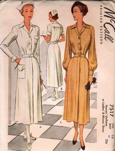 McCall 7517; 1940s; Nurses' Uniform or Ladies' & Misses' Dress Featured in McCall Magazine, January 1949