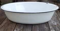Enamel Pan Baby Bath Tub or Planter by ContemporaryVintage on Etsy, $35.00