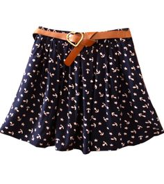 Anchor Print Cotton Skirt