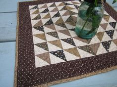 Quilt table topper patchwork by granniesraggedybags on Etsy, $25.00