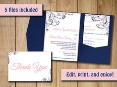 "Wedding Pocketfold Invitation Template - Instant Download ""Finola"" Blush Pink Navy Blue RSVP Response Card Invitation Insert Thank You Card by PaintTheDayDesigns"