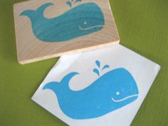 Whale Rubber Stamp Hand Carved. $7.00, via Etsy.
