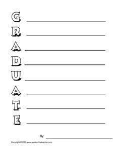 Graduation interactive acrostic poem, Graduation interactive acrostic poem worksheet.
