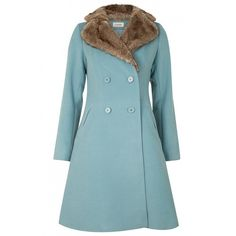 Louche Dara Coat ($165) ❤ liked on Polyvore featuring outerwear, coats, double-breasted coat, louche, blue coat y blue double breasted coat