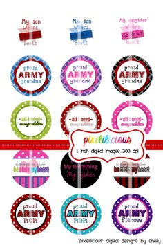 Bottle Cap Image Sheet  Instant Download  Army 1  by pixelilicious
