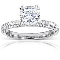 Annello by Kobelli 14k Gold 2 1/4ct TGW Cushion Forever One DEF Moissanite and Diamond Micro Pave Engagement Ring