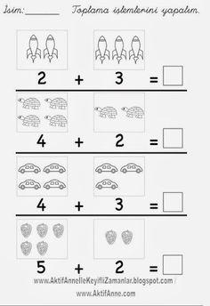 AKTİF ANNE ile keyifli zamanlar... Number Worksheets Kindergarten, First Grade Worksheets, Free Math Worksheets, Preschool Writing, Preschool Printables, Preschool Lessons, Preschool Learning, Maternelle Grande Section, Math For Kids