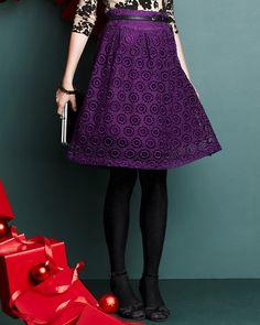 Coterie Lace Skirt, cotton/silk, Garnet Hill $98