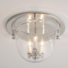 Flush Ceiling Bell Lantern Star Glass