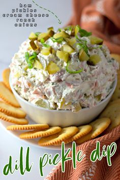 Looking for a delicious snack or party dip recipe? This Dill Pickle Dip Recipe is perfect! So easy to make with only 5 ingredients, you'll love this creamy and flavorful dip. Great Appetizers, Appetizer Dips, Party Appetizer Recipes, Delicious Appetizers, Yummy Food, Party Dip Recipes, Easy Party Dips, Best Party Dip, Best Dip Recipes