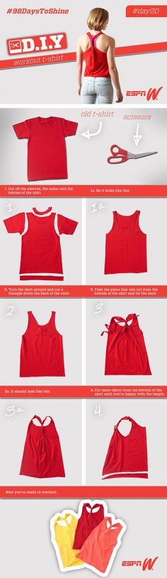 Learn how to turn an old t-shirt into the perfect workout top. Visit www.espnW.com/98days/DIY for a step-by-step guide. #98DaystoShine - mens red short sleeve button down shirts, teal button down shir (Step Workout Diy)