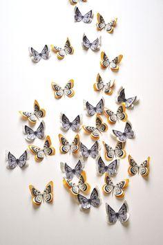 """Lot de 5 papillons en papier ancien - Modèles """"Eulalie"""" et """"Eloan"""""""