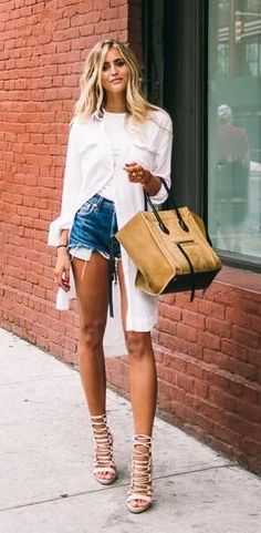 Cool + Casual + Street + Style + Urban + Denim Shorts + Cutoffs + Makeup + Chic + Minimalist + Hair + Moda + Women's Fashion + Outfit Ideas + Long Shirt + Laced Up Sandals