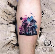 Watercolor forest tattoo by Koray Karagozler