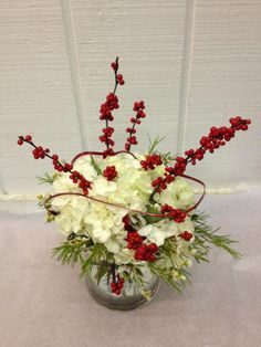 I think I like the idea of berries sticking out of the bouquet.