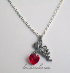 Unique NECKLACE 'Valentine Love & Swarovski Heart'. New