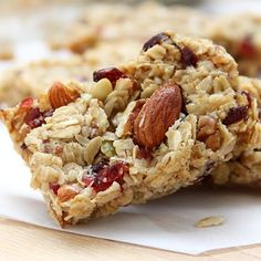 We all loved making (and eating) these designer granola bars! Good to let the mixture sit for a bit - or overnight - before pressing into the pan.