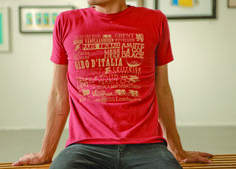 Pro bicycling/cycling races on a t-shirt