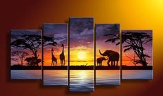 Sangu 100% Hand Painted Wood Framed Sunset Elephants African Home This is super beautiful.  This would look great in a bedroom or even a living room.  This is one piece of modern wall art decor that is super trendy and cute. Decoration Modern Oil Paintings Gift on Canvas 5-piece Art Wall Decor