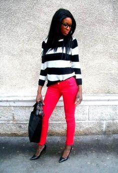 Slim rouge enduit #outfit  , Mango in Sweaters, Jennyfer in Pants