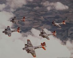 Formation of Boeing B-17's of the 8th Air Forces in flight over England.