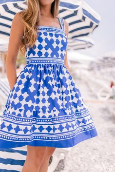 Gal Meets Glam Blue & White in Nice, France - Kate Spade NY dress
