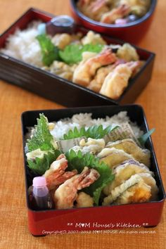 Tempura Bento with shrimp, sweet potato, and squash