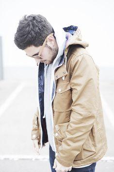 tan jacket + grey hood