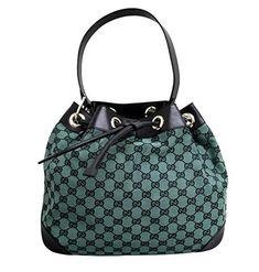 Gucci Canvas Green Drawstring Handbag Shoulder Bag 272374 8303 ** For more information, visit image link. Canvas Handbags, New Handbags, Gucci Handbags, Luxury Handbags, Designer Handbags, Bago, Black Canvas, Canvas Leather, Bucket Bag