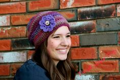 Purple Slouch Hat with Flower by Twistyourtop on Etsy, $32.00