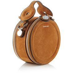 Click product to zoom This **Carven** pouch is rendered in suede leather and features a structured circle shape with a single top handle and dual tip compartments. Purses And Handbags, Leather Handbags, Leather Bag, Brown Handbags, Leather Fashion, Cute Bags, Beautiful Bags, My Bags, Fashion Bags