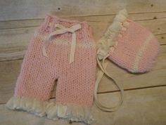 Custom Knit Bonnet And Knit Baby Girl Short by CricketCreations