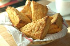 A Cozy Kitchen makes sweet potato scones. They're best eaten warm, with a beautiful dollop of butter. Sweet Potato Scones Recipe, Sweet Potato Recipes, Tasty Kitchen, Cozy Kitchen, Delicious Desserts, Yummy Food, Baking Recipes, Scone Recipes, Breakfast Recipes