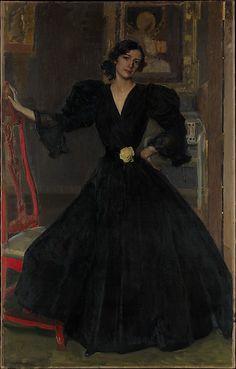 Señora de Sorolla (Clotilde García del Castillo, 1865–1929) in Black  Joaquín Sorolla y Bastida (Spanish, Valencia 1863–1923 Cercedilla) Date: 1906 Medium: Oil on canvas