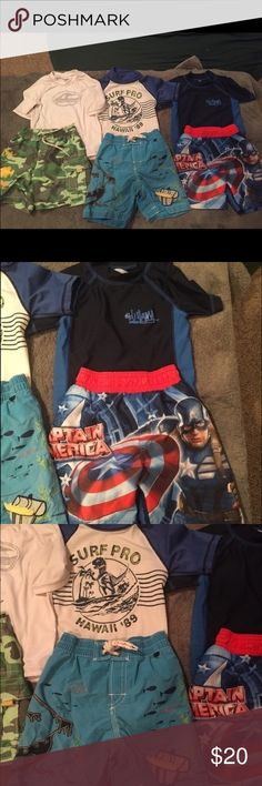 Bundle of swim outfits sz 24mo/2T. Bundle of three rash guards and three swim shorts for a boy size 2T.  You'll be set for Part of your Summer!    I would never sell something I wouldn't be happy with if I purchased. Priced to sell.. PRICES FOR MY CHILDREN'S LISTINGS ARE FIRM UNLESS IN A BUNDLE AS PRICES SET ARE VERY FAIR CONSIDERING BRANDS AND CONDITIONS (also considering such low price points get a bulk taken away for sellers fees) . Thanks for looking!! Gap Swim Swim Trunks