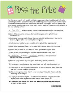 Printable Customizable Baby Shower Activity Pass the