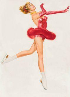 Ice Skater In Red, art by Fritz Willis. http://www.pinterest.com/halinakaminski/dolls-4-paper/