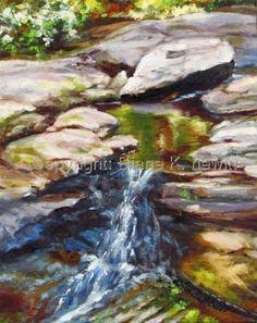 Canvas 'Chapel Creek Falls'  Original Oil on Canvas 14'x11 by Diane K. Hewitt  http://www.dianekhewitt.com  $250.