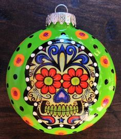 "E. BARNES - Day of the Dead Sugar Skull 3"" Glass Hand Painted Ornaments"