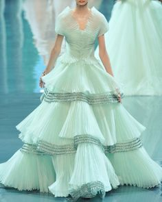 Dior; Turquoise pastel colour; jewel embroidery; Restoration influenced