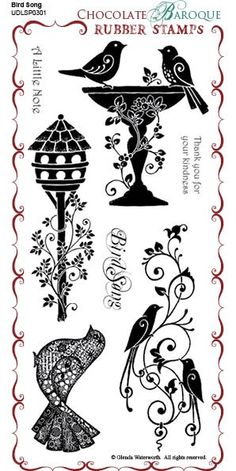 Bird Song Unmounted Rubber Stamp Sheet - DL