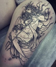 What does trident tattoo mean? We have trident tattoo ideas, designs, symbolism and we explain the meaning behind the tattoo. Orion Tattoo, Trident Tattoo, Future Tattoos, New Tattoos, Girl Tattoos, Gay Tattoo, Tatoos, Octopus Tattoos, Mermaid Tattoos
