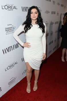 Pin for Later: If You Thought the Oscars Were All About the Gowns, You Need to See These Preparty Looks Ariel Winter Ariel attended Vanity Fair's DJ Night in a crisp white body-con wrap dress and ankle-strap heels.