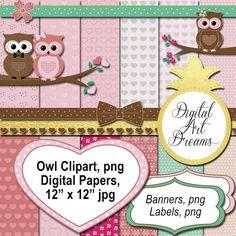 Owl Clipart Cute Owls Clip Art Love Digital by DigitalArtDreams