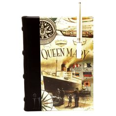 Leather-Bound Journal With Queen Mary Ship Watercolor Print Cover Queen Mary Ship, Leather Bound Journal, Unique Gifts, Handmade Gifts, Watercolor Print, Cow Leather, Bookends, Traditional, This Or That Questions