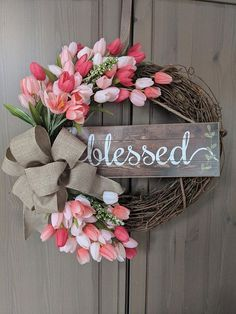 This 18 grapevine spring tulip wreath is a perfect addition to your spring decor. Wreath includes tulips (color options available), blessed sign and linen ribbon. Diy Spring Wreath, Spring Door Wreaths, Easter Wreaths, Spring Crafts, Holiday Wreaths, Wreath Crafts, Diy Wreath, Grapevine Wreath, Wreath Ideas