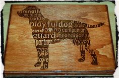 Wood burning of dog with descriptive words FREE Shipping by BeautifulPursuits on Etsy