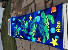TURTLE Lagoon Beach Towel Personalized by CACBaskets on Etsy Oversized Beach Towels, Turtle, Unique Jewelry, Handmade Gifts, Vintage, Etsy, Kid Craft Gifts, Turtles, Tortoise